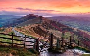 Картинка холмы, Англия, England, Peak District