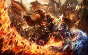 Обои wow, топор, магия, маг, orcs, воин, World of Warcraft, битва, девушка, посох, огонь