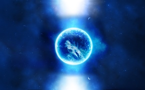 Обои космос, свет, луна, планеты, звёзды, space, light, moon, stars, planets, 2560x1600