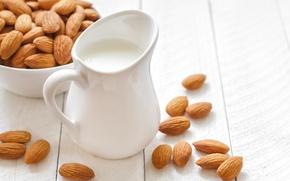 Картинка стол, молоко, тарелка, кувшин, орехи, миндаль