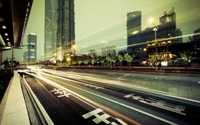 Обои дорога, city, город, огни, здания, небоскребы, мегаполис