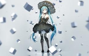 Обои девушка, кубики, зонт, аниме, арт, vocaloid, hatsune miku, bai yemeng
