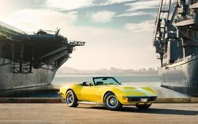 Картинка корабли, Chevrolet Corvette, muscle car, корвет, автообои, Stingray