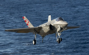 Картинка море, истребитель, бомбардировщик, взлет, Lightning II, F-35C