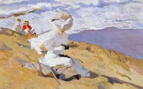 Картинка женщины, берег, картина, склон, Хоакин Соролья, Поймать Момент