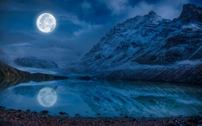 Картинка камни, небо, облака, ночь, вода, озеро, луна, горы, снег, отражение