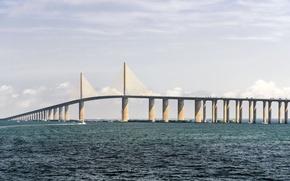 Картинка вода, мост, голубой, лодка, облако, Флорида, залив, USA, США, Bridge, Saint, blue, cloud, gulf, boat, ...