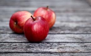 Обои яблоки, доски, красные, серые