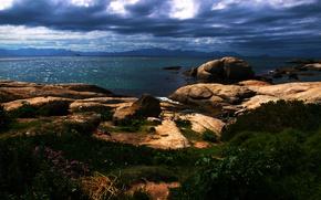 Картинка небо, камни, побережье, горизонт, South Africa, Южная Африка, Cape Town, Кейптаун
