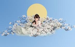 Картинка девушка, цветы, весна, аниме, арт