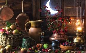 Обои лампа, ягоды, каштаны, натюрморт, яблоки