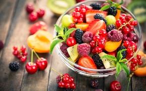 Картинка вишня, ягоды, малина, киви, клубника, персик, смородина, ежевика, peach, cherry, strawberry, blackberry, raspberry, currant