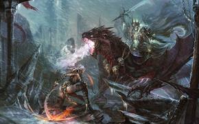 Картинка девушка, снег, дождь, скалы, ветер, монстр, меч, фэнтези, арт, черепа, битва, лич