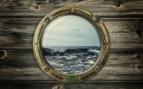 Картинка море, волны, иллюминатор