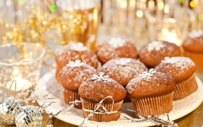 Обои шарики, Новый Год, праздник, выпечка, десерт, сладкое, кексы, ленточки, Рождество