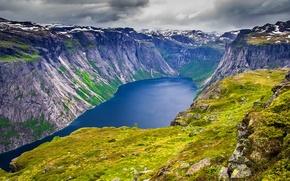 Картинка grass, lake, rocks