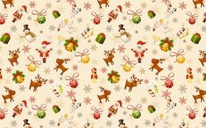 Картинка Санта Клаус, Рождество, Новый год, текстура, настроение, свеча, новогодний шарик, олень, ангел, фон, колокольчик, праздник, ...