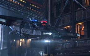 Картинка ночь, город, транспорт, полиция, киберпанк, Cyberpunk 2077