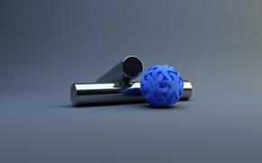 Обои синий шар, Цилиндры