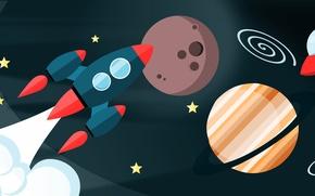 Картинка космос, полет, планеты, вектор, ракета