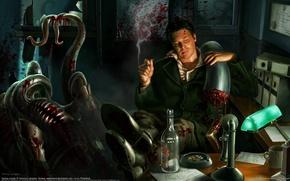 Обои кровь, рисунок, монстр, офис, сигара, henning ludvigsen
