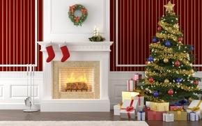 Картинка интерьер, Рождество, подарки, ёлка, камин