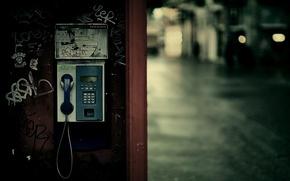 Картинка город, огни, будка, телефонная