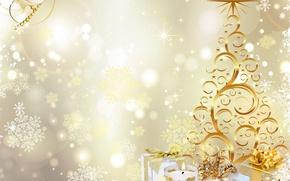 Картинка вектор, подарки, украшение, елка