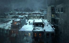 Картинка снег, крыши, noir, jeremy mann, rooftops in the snow, нуар город