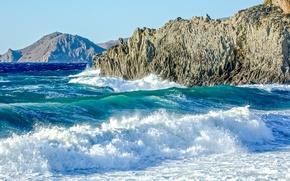 Картинка waves, summer, sea, ocean, hill, sunny, cliffs, troubled sea