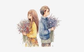 Картинка дети, романтика, букет, мальчик, куртка, девочка, голубой фон, полевые цветы, спина к спине, парень с …