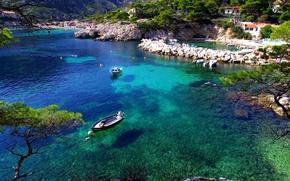 Картинка море, деревья, камни, берег, Франция, лодки, Marseille
