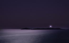 Картинка море, острова, ночь, маяк