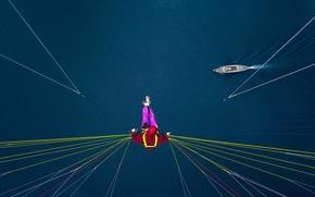 Картинка корабль, Швейцария, стропы, озеро Тун, парапланерист