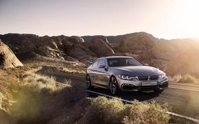 Картинка Машина, Серебро, Блик, Пустыня, БМВ, Авто, Дорога, Концепт, 4 serie, BMW, Серый