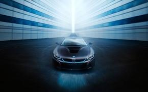 Картинка View, Car, Black, Ligth, Blue, Sport, Front, BMW