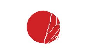 Картинка Солнце, Япония, Круг, Флаг, Japan, Sun, Трещина, Разлом, Tohoku, Тохоку