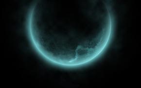 Обои космос, черный, свечение, даль, Планета