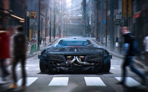 Картинка City, Ferrari, 458, Grey, Tuning, Future, Italia, Rear, by Khyzyl Saleem