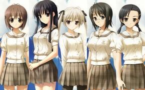 Обои школьная форма, Yosuga no Sora, Нао Ёрихимэ, Кадзуха Мигива, Сора Касугано, Акира Амацумэ, довочки, Кодзуэ ...