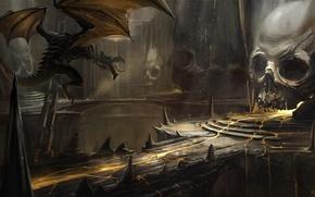 Картинка мост, дракон, череп, арт, лава, пещера