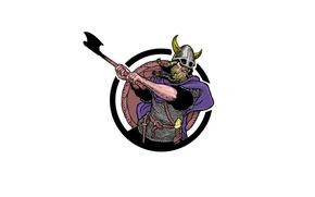 Картинка воин, удар, шлем, топор, викинг