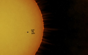 Обои солнце, ISS, космическая станция, Atlantis