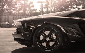 Картинка солнце, авентадор, lp700-4, aventador, ламборгини, колесо, rim, sun, Lamborghini, black, черный, диск, back