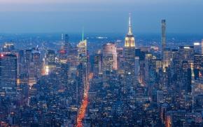 Картинка Manhattan, New York City, Манхэттен, панорама, небоскрёбы, ночной город, Нью-Йорк, здания