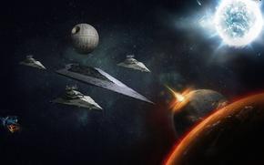 Обои Destroyer, Death, Star, Moon, Space, Wars