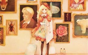Картинка рама, карандаши, девочка, картины, тюбики, холст, берет, фартук