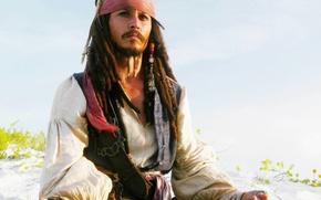 Обои Пираты Карибского моря, Джек Воробей, Пляж, Johnny Depp