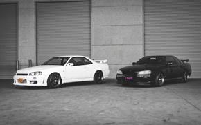 Картинка Nissan, white, GT-R, black, R34