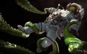 Картинка космонавт, скафандр, щупальца, Tomas Kral